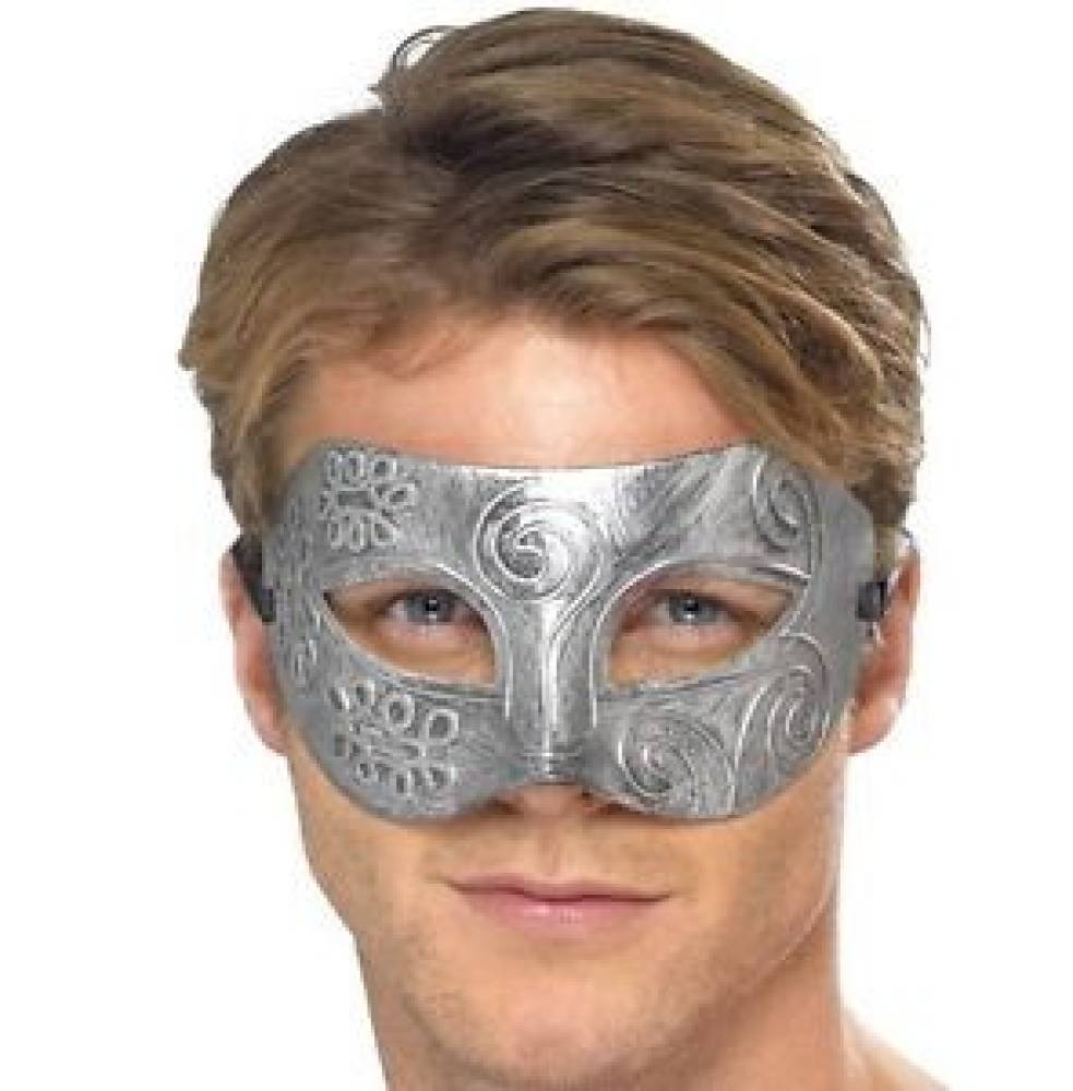 Sølvfarget Warriormaske