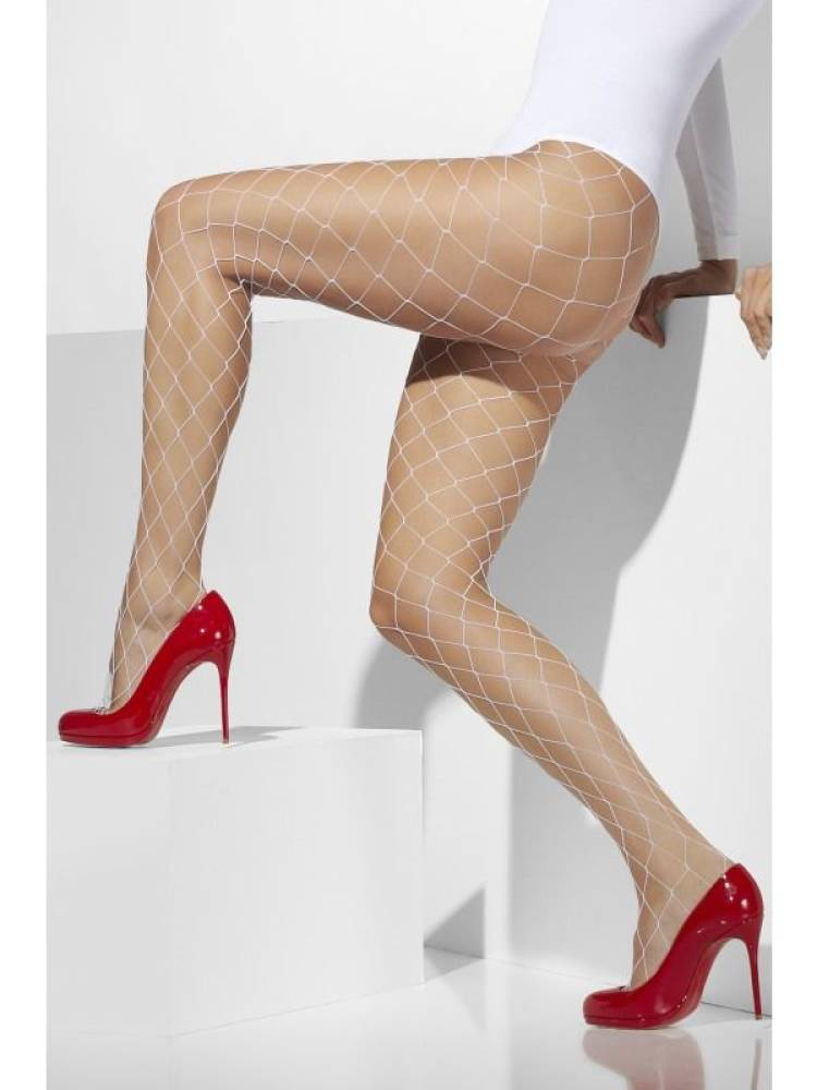 Fever-Diamond Net Tights Hvit