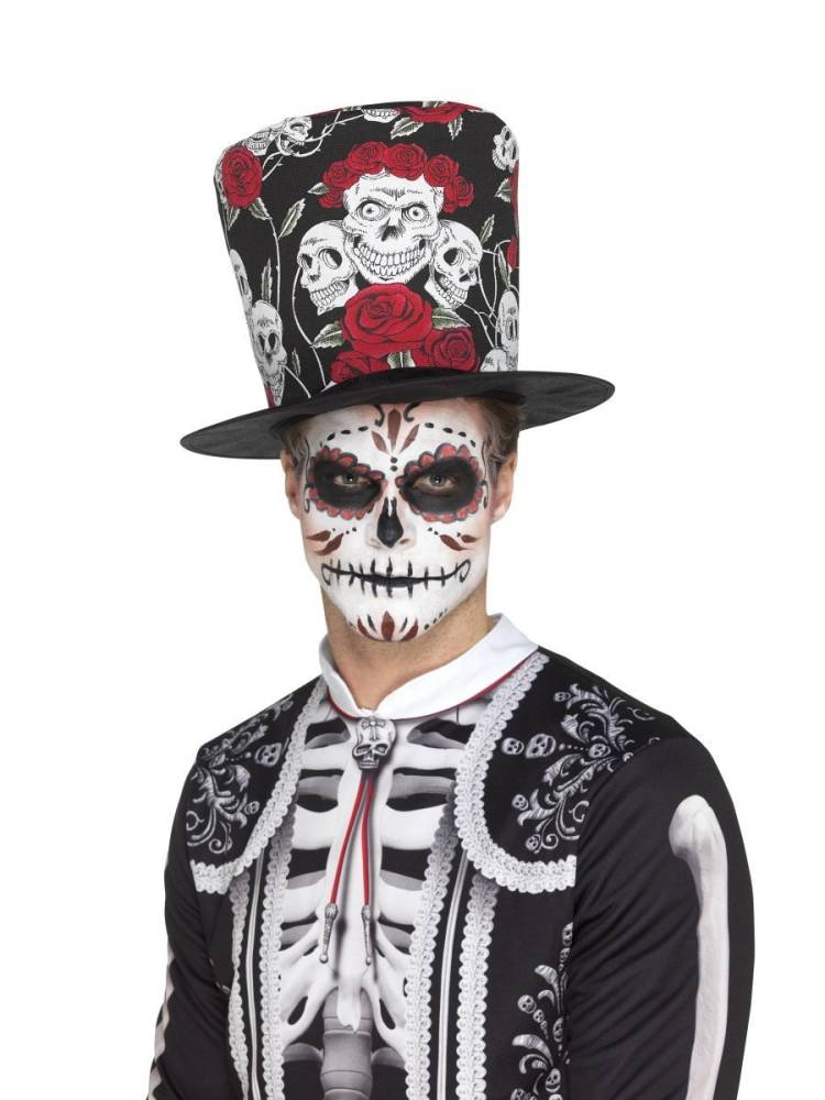 Day Of Dead Hatt - Skull & Rose